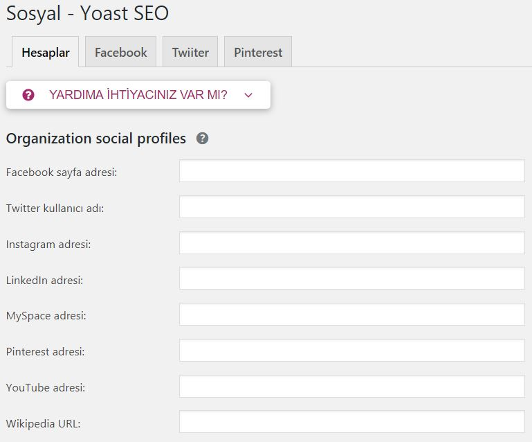 Yoast SEO Sosyal Ayarları