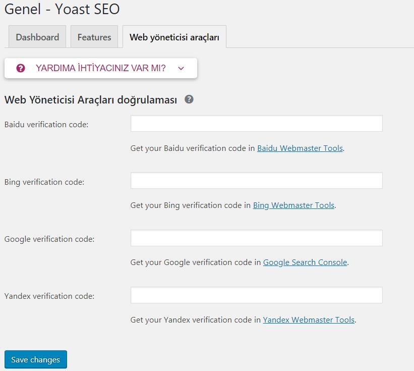 Yoast SEO Web Araçları Ayarları